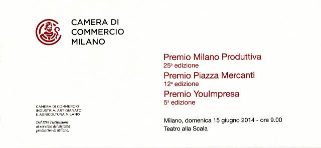 Attestato Premio Milano Produttiva Camera di Commercio Milano